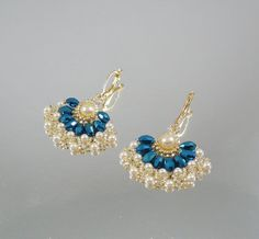 Woven Earrings with Bright Blue Oval Crystals