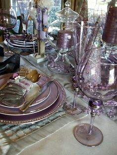 Looovvveeee the silver and lavender color scheme of this table. Beautiful Historic Home Tour at BNOTP