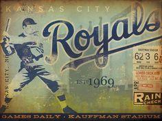 Kansas City Royals Baseball Club original graphic art on canvas 12 x 16 by geministudio. $90.00 USD, via Etsy.