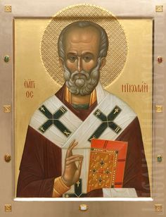 This icon of St Nicholas is painted to order in a size specified by you. We will also make a kiot for a painted icon Old Fashion Christmas Tree, Retro Christmas, Primitive Crafts, Primitive Christmas, Country Christmas, Christmas Christmas, Paint Icon, Shades Of Gold, Saint Nicholas