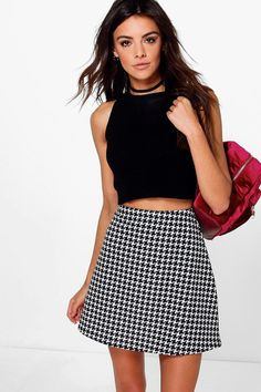 Marin Monochrome Dogtooth A Line Mini Skirt
