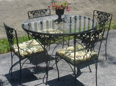 Black wrought Iron Cafe Table and Chairs | Wrought Iron Table, 4 Chairs, Cushions. Woodard. Grapes Leaves ...