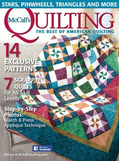 "Turn to page 34 to see a new quilt called ""Blown Away"" from Marcia Harmening of Happy Stash Quilts."