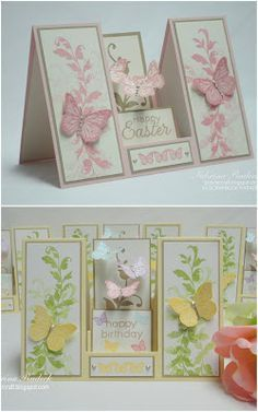 handmade Easter cards from Aspiring to Creativity: Double Sided Step Card Tutorial. Instructions on how to make this cool fold! Fancy Fold Cards, Folded Cards, Tri Fold Cards, Pop Up Cards, Cool Cards, 3d Cards, Envelopes, Center Step Cards, 3d Templates