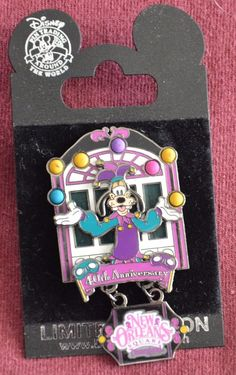 PinPics #47718. Released in July 2001, this Limited Edition 1000 dangle pin featuresGoofy dressed as a Jester. Pin is in new condition and comes on its original Disney Pin Trading Around the World pin card. | eBay!
