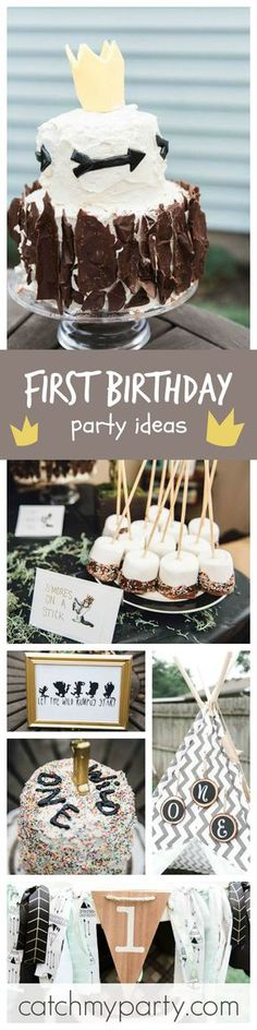 What an amazing Wild One Boy's 1st Birthday party inspired on the book 'Where the Wild Things Are'! Wow, loving both birthday cakes!! See more party ideas at CatchMyParty.com