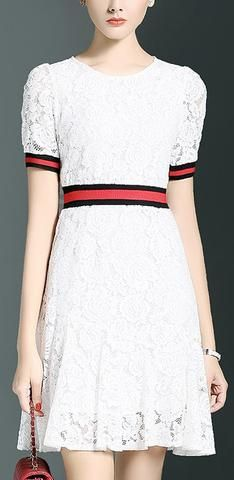 Contrast Lace Knit Dress-White