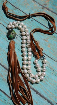 Tassel Necklace Boho Western Knotted Pearl and by fleurdesignz