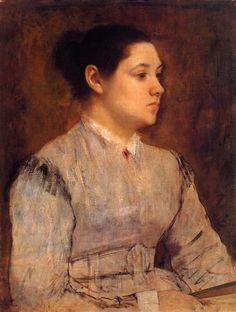 Portrait of a Young Woman - Artista: Edgar Degas Data do início: c.1864 Data da Conclusão:c.1865 Estilo: Impressionism Género: portrait Técnica: oil Material: canvas Galeria: Private Collection