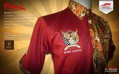 Model baju batik kantor dinas Pajak KPP Sorong. Dibuat dengan konsep baju kerja warna merah dipadukan dengan kain batik motif etnik papua.
