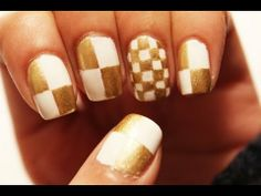 Tutorial on Gold Checkered Nail Art by Bella Glow. Check out more Nails on Bellashoot. Crazy Nail Art, Crazy Nails, Stiletto Nails, Toe Nails, Checkered Nails, Bridal Nail Art, Nail Art Tools, Mani Pedi, Halloween Nails