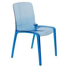 LeisureMod Laos Transparent Blue Dining Chair