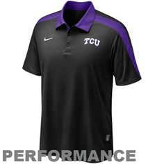Nike Texas Christian Horned Frogs (TCU) Black Coaches Hot Route Performance Polo
