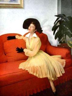 L'Officiel February 1950  Bettina Graziani is wearing a beautiful   yellow organza dress by Jacques Fath