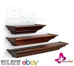 Floating Shelves Walnut 3 Level Line Bookshelf Wall Display Bracket Storage Case #BurnesofBoston