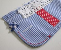 red blue white shabby wrist cuff - repurposed blue and white gingham - red accents - free shipping - fabric cuff