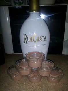 Rum Chata Pudding Shots ~ 1 4 oz pkg instant chocolate jello pudding 1 cup milk 1 cup Rum Chata 1 8 oz container cool whip Mix milk, pudding and Rum Chata till thickened, gently mix in cool whip with spatula, pour into plastic jello shot cups. (Diamond brand Dialy mini cups 2oz. from Walmart) Put them in a cake pan in the freezer for a few hours then enjoy! Will not freeze hard due to alcohol in them!