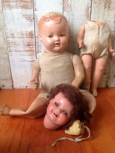 Antique doll part lot Ideal baby cuddles doll Antique Ideal doll Antique german doll German bisque doll