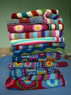 crochet blankets by LittleTinBird......everyone should have beautiful, colorful balnkets to cozy up into.