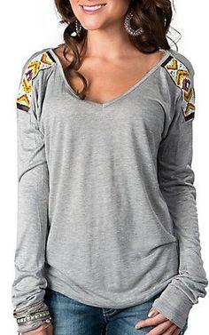 Vintage Havana® Women's Heather Grey Knit with Tribal Beaded Shoulders Long Sleeve Top | Cavender's---S