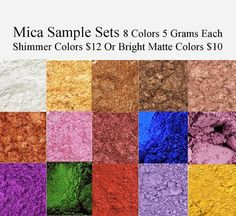 Mica Powders - Mica Pigment - Iron Oxide -Sample Set Soap Colors - Pearlized Mica -Blue, Green, Pink, Purple, Red, Violet, Yellow, Brown