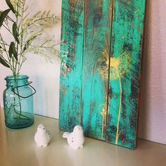 Repurposed Wood, Hand painted dandelion art by 1920 Shoppe Wood Painting Art, Yellow Painting, Wood Art, Pallet Painting, Pallet Crafts, Pallet Art, Wood Crafts, Dandelion Painting, Art Diy