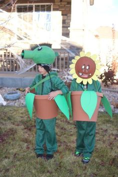 Wow…I've been sucking at updating our website. Here's the boys at Halloween this year. They wanted to be a Peashooter and a Sunflower from Plants vs. Zombies. I went with the p…