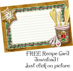 Free Recipe Card, Christmas, Gingerbread Cookie, Blank