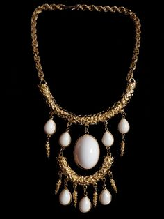 Iconic Signed Goldette Runway Statement Necklace in Textured