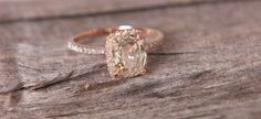 Fell in love with this jasmine to Peach sapphire in 14k rose gold by EidelPrecious on Etsy