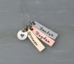 Hand Stamped Jewelry - Mixed Metal - Personalized Necklace - Name Necklace - Hand Stamped Jewelry - Mothers Day on Etsy, $44.00