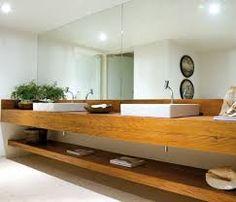 Resultado de imagem para bancada em madeira para banheiro