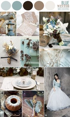 Ice Blue-Winter Wedding Color Scheme: This is pretty too, doesn't have gold but its very wintery :)