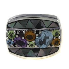 Chi by Falchi Gray Mother of Pearl and Gem Sterling Silver Ring Size 8 #ChibyFalchi #Cocktail #hsn