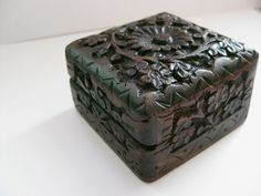 Hand carved wooden jewelry box / ornament by SHANInewyork on Etsy, $19.00