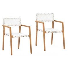 White Synthetic Rattan Natural Teak Indoor Outdoor Dining Chair Set 2 Outdoor Dining Chairs, Dining Chair Set, Lounge Chairs, Dining Room Chairs, Dining Furniture, Dining Table, Black And White Furniture, Living Room Accents, Rattan