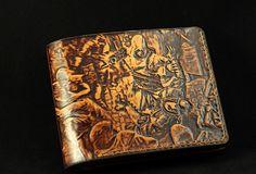 Handcraft Assassin's Creed carved leather custom short wallet for men