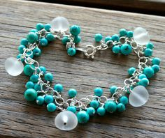 Sea Glass Bracelet Turquoise Sterling by OceanCharmsSeaGlass, $60.00 #Etsy #etsypin