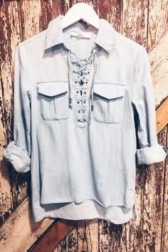 Light blue jean lace up top #denimtop #womens #chambray #boho #bohemian #trending