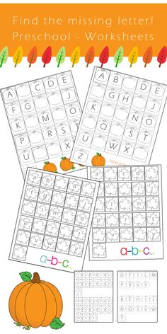Preschool Alphabet Worksheets: Find the missing letter *Fall Edition* -