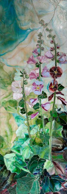 """Hollyhocks"" (glass mosaic) ~ by Rose Scherpenzeel ~ Miks' Pics ""Glass"" board @ http://www.pinterest.com/msmgish/glass/"