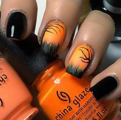 Black and Coral Matte Halloween Nail Art. More