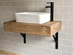 The floating beam shelf wash stand sink unit hand crafted rustic bathroom vanity unit Wooden vanity Industrial with brackets shelving Floating Bathroom Vanities, Bathroom Sink Units, Floating Vanity, Floating Toilet, Black Bathroom Sink, Belfast Sink Bathroom, Bathroom Plants, Floating Shelves, Bathroom Trends