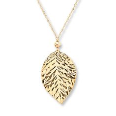 "Leaf Necklace 14K Yellow Gold 17"" Length"