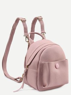 Shop Pink Pebbled Faux Leather Backpack at ROMWE, discover more fashion styles online. Mini Mochila, Faux Leather Backpack, Leather Backpacks, Chic Et Choc, Stylish Backpacks, Leather Bags Handmade, Quilted Bag, Backpack Bags, Duffle Bags