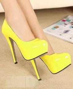 Yellow high #heel shoes