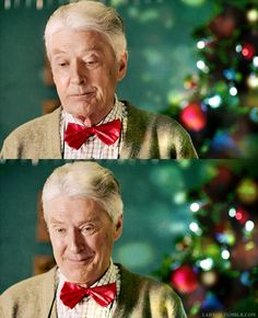 Timothy Carlton insisted on wearing the garish red bow tie on the Christmas Day scenes because he says he wears bowties and musical socks at Christmas in real life to embarrass his son, Benedict Cumberbatch.