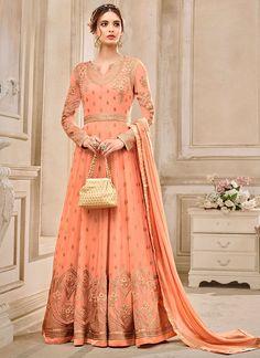 aaac1dac61f Buy Peach Georgette Abaya Style Anarkali Suit online