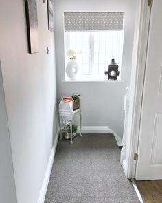 My landing - new grey carpet with walls painted in Valspar Modern Grey Grey Walls And Carpet, Grey Carpet Hallway, Grey Carpet Living Room, Dark Grey Carpet, Basement Carpet, Light Grey Walls, Wall Carpet, Carpet Stairs, Shaw Carpet