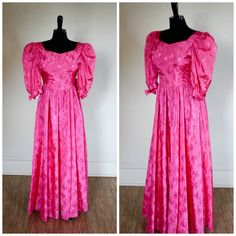 Vintage 1980s Pink Prom Dress Party Dress Embroidered Flowered Princess Puff Sleeves Bow Low Back Cut Out Floor Length Size Small by TempleKatVintage on Etsy